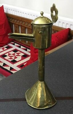 Antique Vintage Religious Quirky Indian Arabic Brass Whale Oil Lamp Holder Stand