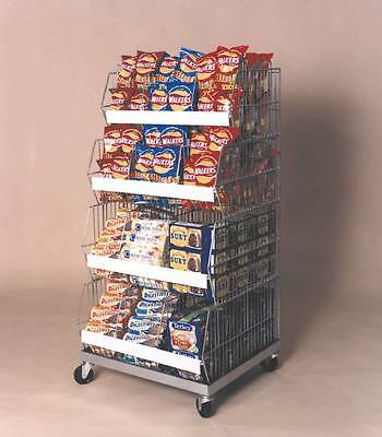 475mm Stack of 4 Stacking Wire Crisp Display Baskets, Dividers & Wheeled Plinth