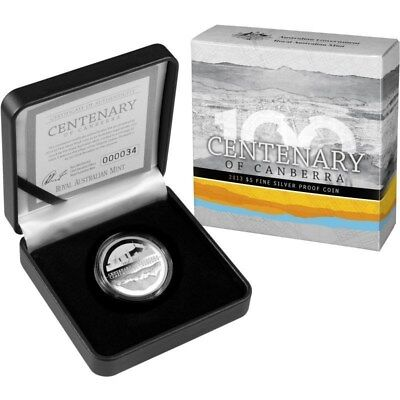 Australia: 2013 $5 Silver Proof Canberra Centenary. Issue Price $110. Scarce