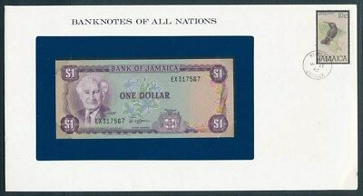 Jamaica: 1982 $1 Banknote & Stamp Cover, Banknotes Of All Nations Series