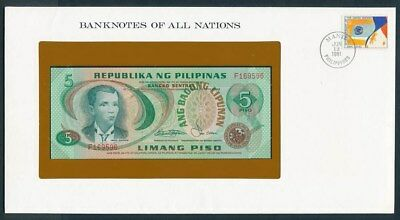 Philippines: 1978 5 Pesos Note & Stamp Cover, Banknotes Of All Nations Series