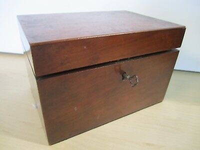 Vintage Possibly Antique Wooden Storage Trinket Box with Interior Tray & Key 5D