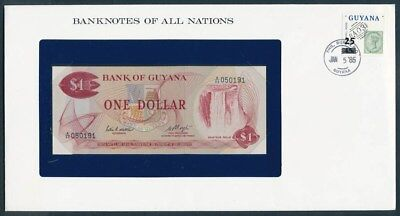Guyana: 1983 $1 Banknote & Stamp Cover, Banknotes Of All Nations Series