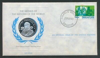 Singapore Sir Stamford Raffles Proof Silver Medal 23mm PNC United Nations Issue
