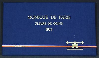 FRANCE 1, 5, 10, 20 Centimes & 1/2, 1, 5, 10, 50 Francs Mint Set 1974 - 32