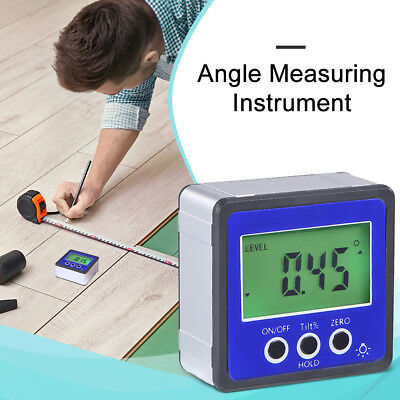 US Digital LCD Angle Cube Inclinometer Magnetic Protractor Gauge Level with Case