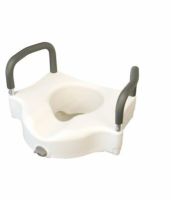 NEW WALGREENS Raised Elevated Toilet Seat Lift Riser Safety Rails w/ Arms & Lock