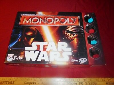 Star Wars Monopoly Board Game 2015 Edition Hasbro Disney USA made 100% Complete
