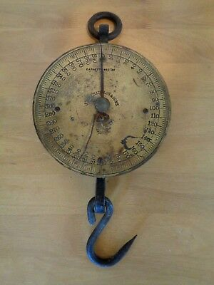 Antique John Chatillon & Son 400lb Brass Face Hanging Market Scale Tool NY Trade