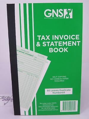 5 x Tax Invoice & Statement Book Duplicate Carbonless 200x125mm 50LF GNS 09572