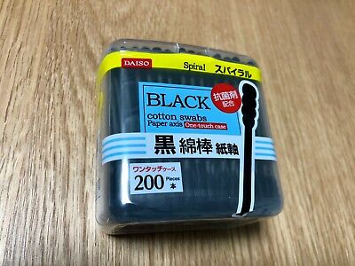 New DAISO JAPAN Cotton Swab Ear Cleaning Black Paper stick F/S From japan