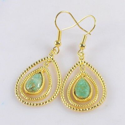 Drop Natural Turquoise Pave CZ Bezel Dangle Earrings Gold Plated T073913
