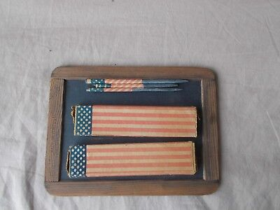 Antique Writing Slate Portugal with 2 Boxes Flag Wrapped Pencils Civil War Era