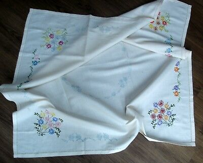 Vintage Cream Linen Stamped Tablecloth Partially Worked To Hand Embroider Finish