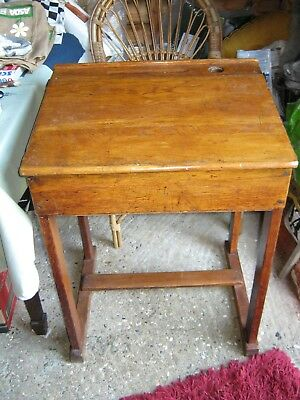 Antique Vintage Old School Oak Desk  with Lift up Storage Lid and Pen Ridge