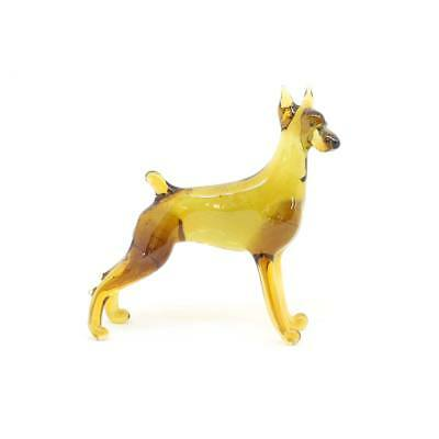 Middle blown glass figurine Dog - Doberman Pinscher. Handmade #119-2