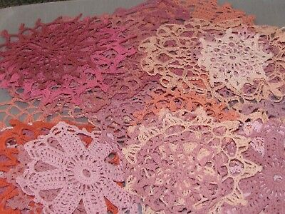 Vintage Lot of 53 pink Crocheted Doilies Hand Made Nice Patterns Sewing Crafts