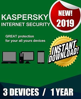 Kaspersky Internet Security 2019 3 Pc Devices 1 Year  Best Antivirus License