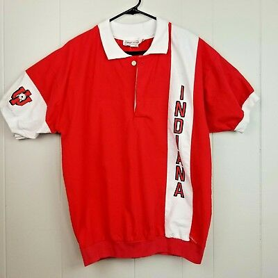 Vintage 80s IU Indiana Hoosiers Basketball Collared Shirt College Concepts Large