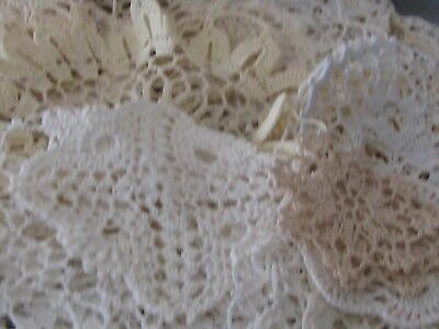 Vintage Lot of 68 White & Cream Crocheted Doilies Hand Made Sewing Crafts