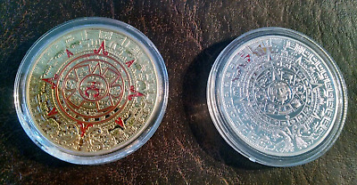 lot of 2 coins: 1 Gold plated + color painted 1 Silver plated each is 1oz Mexico