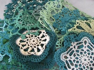 Vintage Lot of 33 Green Crocheted Doilies Hand Made Sewing Crafts Nice Patterns