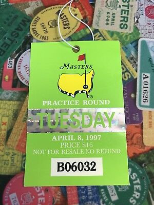 1997 Masters Badge Augusta National Golf Ticket TUESDAY Tiger Woods Wins 1st