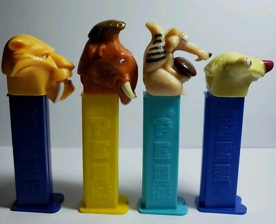 Ice Age Movie Pez Dispensers 4 Diego Manny Scrat (holding acorn - unique)  & Sid