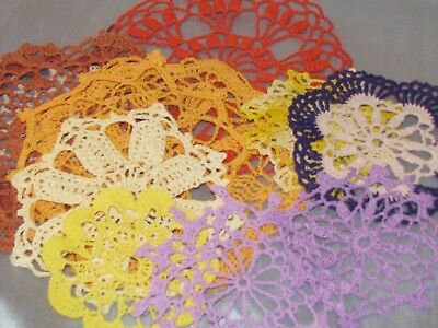 Vintage Lot of 84 Crocheted Doilies Hand Made Sewing Crafts Variety of Colors