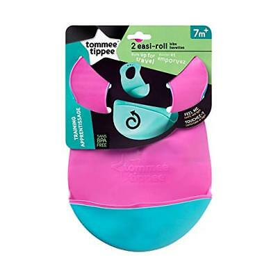 Tommee Tippee Easi-Roll Bib, Pink/Teal or Blue/Green
