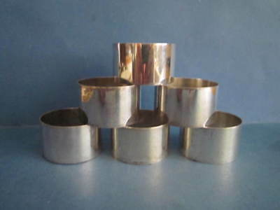 SET OF SIX MALTA SILVER NOT STERLING 917 GRADE NAPKIN RINGS 158 grms
