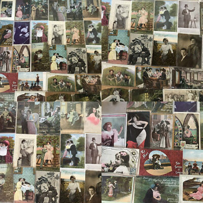 Huge Lot of Vintage 1900s People Postcards -Men Ladies-People Kids Romantic-a682