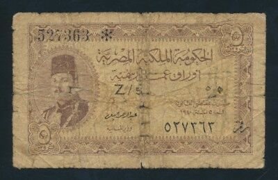 "Egypt: 1940 5 Piastres Sig El Bialy ""KING FAROUK"". Pick 165a VG Cat $67"