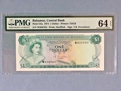 Bahamas P-35a - 1 Dollar; 1974 PMG Graded 64 EPQ