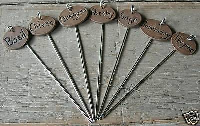 Herb &/or Vegetable plant garden markers on stakes Tags - set of 15 YOUR CHOICE