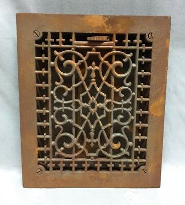 One Antique Cast Iron Decorative Heat Grate Floor Register 8X10 Vintage 96-19C