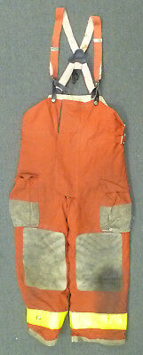 36x28 Globe Red Pants With Suspenders Firefighter Turnout Bunker Fire Gear P961