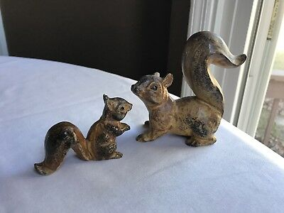 Vtg Stoneware Squirrels Mother And Baby Brown Hues