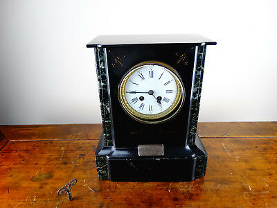 Antique Victorian French Mantel Clock in Black Slate & Marble Chiming 8 Day