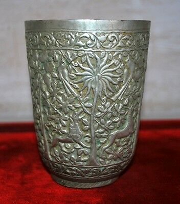 Old Antique White Metal Silver Islamic Hand Engraved Wild Animal Figure Glass