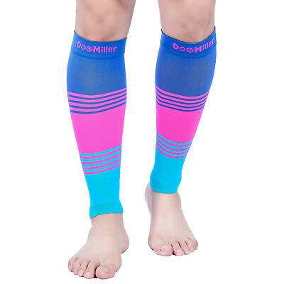 Doc Miller Calf Compression Sleeve 1Pair 20-30mmHg Varicose Veins BLUE/PINK/BLUE