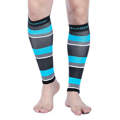 Doc Miller Calf Compression Sleeve 1Pair 20-30mmHg Varicose Vein BLK/BLU/GRY/WHT