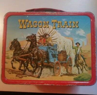 1964 Wagon Train  Metal Lunch Box  King Seeley  No Bottle  Tv Western