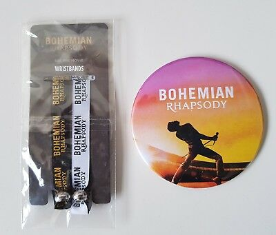 Queen Bohemian rhapsody movie official circle magnet and promo doble wristbands