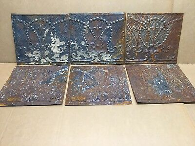 """6pc Lot of 12"""" by 12"""" Antique Ceiling Tin Vintage Reclaimed Salvage Art Craft"""