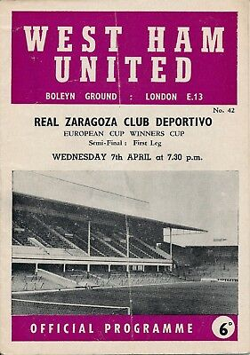 CUP WINNERS CUP SEMI FINAL 1965 West Ham v Real Zaragoza