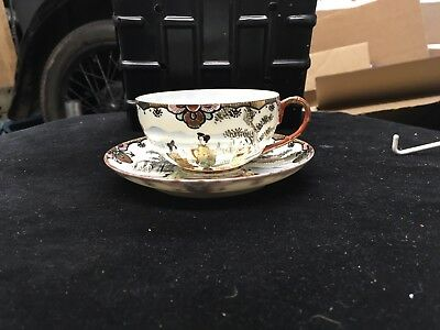 Antique Japanese Hand Painted Porcelain Tea Cup & Saucer Signed