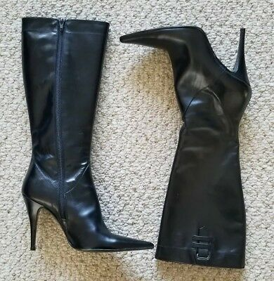 1f38da89d30 Charles David Women s High Boots Black Leather Size 7 Pointed Made in Italy