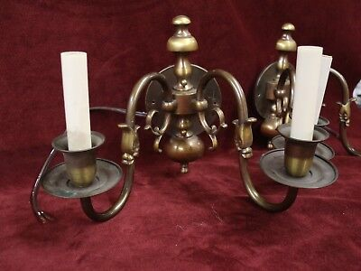 Pair of vintage Williamsburg sconces, fish head downspout motif in antique brass
