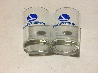 Vintage Eastern Airlines Clear Drinking Glass Set Of Two